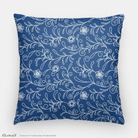 Decorative Throw Pillow I Blue Floral Pattern 2