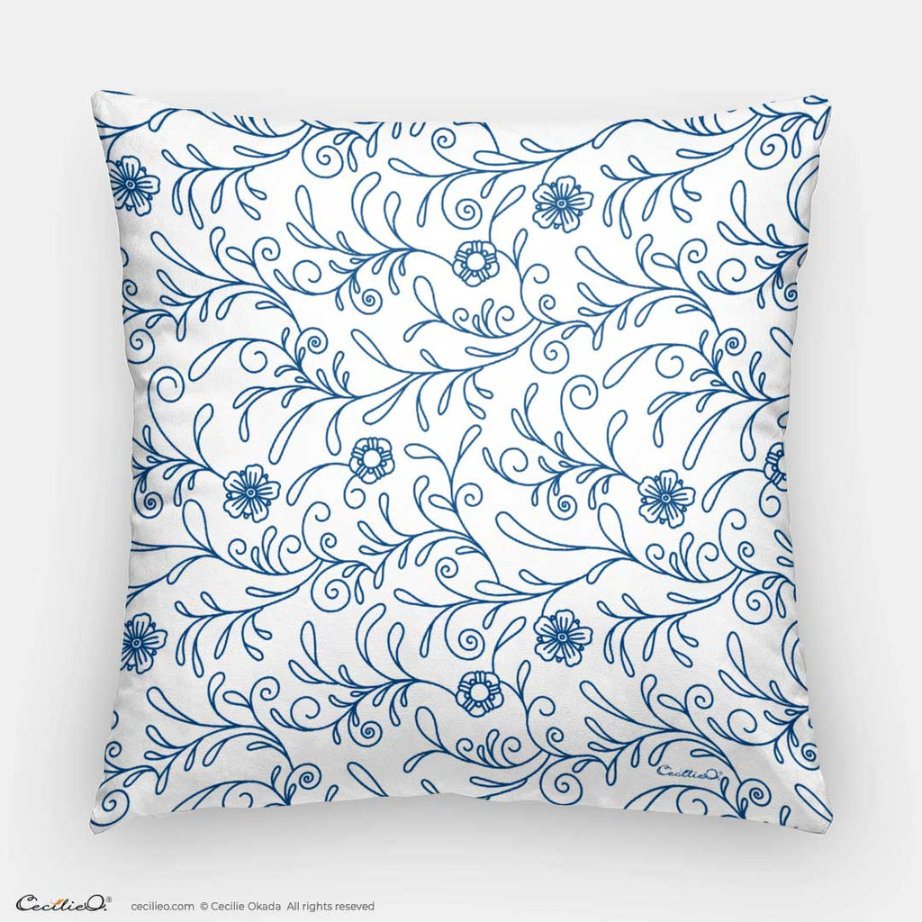 Decorative Throw Pillow I Blue Floral Pattern 1