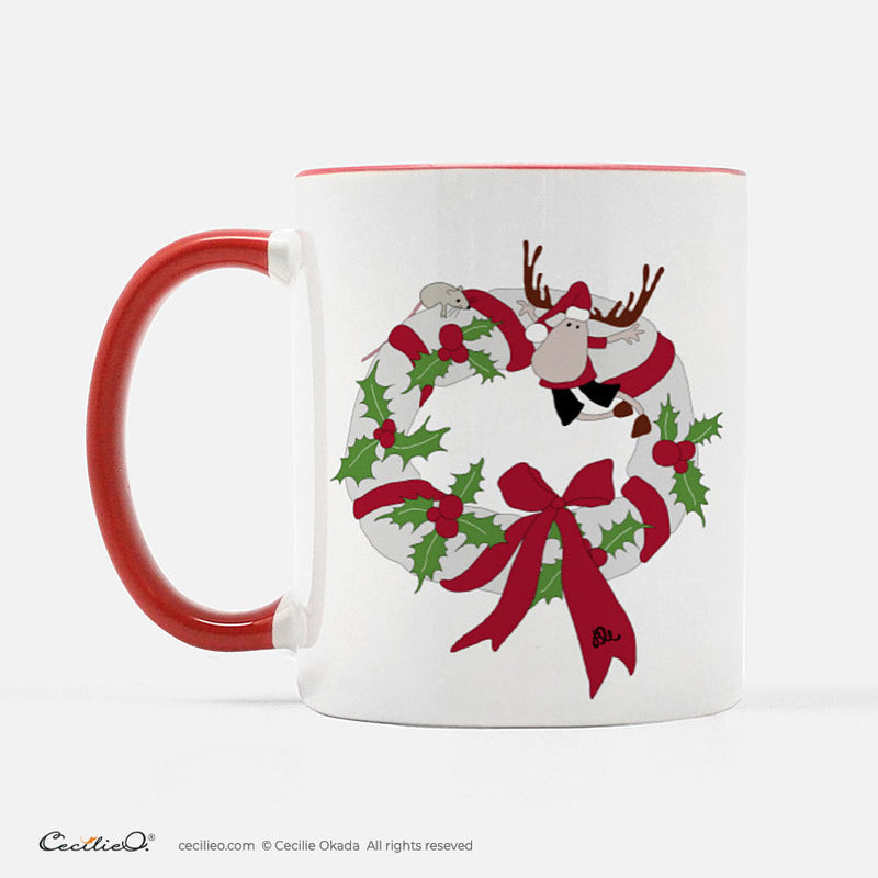 BrynUlf Elk Coffee Mug | Christmas Wreath