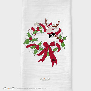 BrynUlf Elk Tea Towel | Christmas Wreath