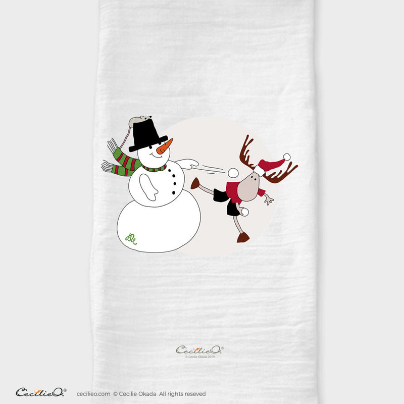 BrynUlf Elk Tea Towel | Snowball Fight