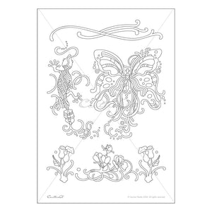 Butterfly & Gecko- Printable Adult Coloring Sheet. Instant PDF download.  (Coloring sheet, coloring book pages)