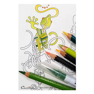 Butterfly & Gecko (Large)- 2 Printable Adult & Kids Coloring Sheet. Instant PDF download.
