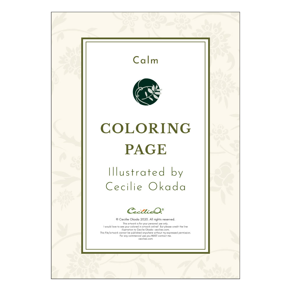 Calm- Printable Adult & Kids Coloring Sheet. Instant PDF download.