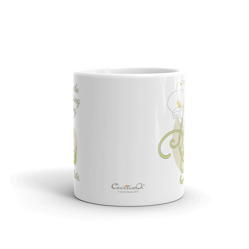 Lily Tea Mug with Meditation Quote