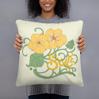 Decorative Throw Pillow I SMILE Flower Letters