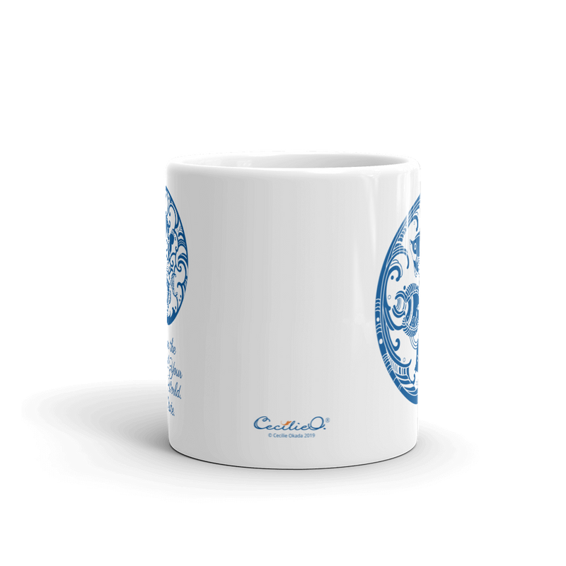 Blue Ocean Tea Mug with Meditation Quote