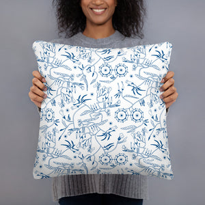 Decorative Throw Pillow I Blue Wind Flowers