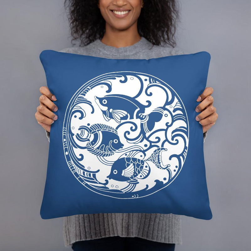 Decorative Throw Pillow I Blue Mandala