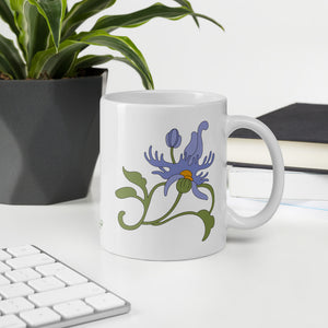 Fringed Flower Tea Mug with Meditation Quote