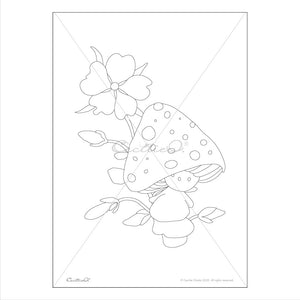 Mushroom Kids- 3 Printable Coloring Sheets for Kids. Instant PDF Download.