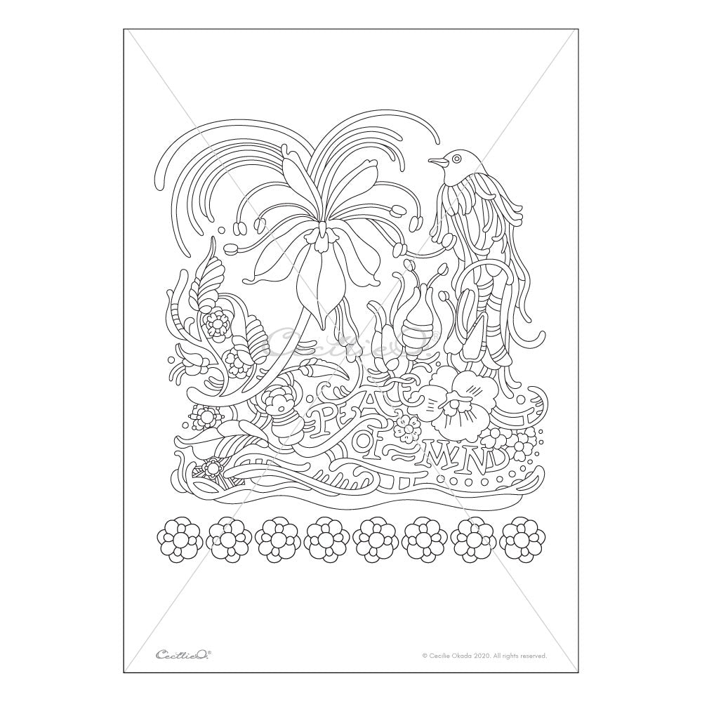 Peace of Mind- Printable Adult & Kids Coloring Sheet. Instant PDF download.