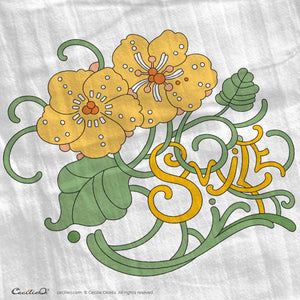 Smile! Flower Letters Tea Towel