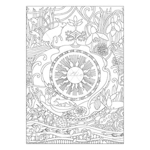 Spring Flowers & Animals- Printable Adult & Kids Coloring Sheet. Instant PDF download.