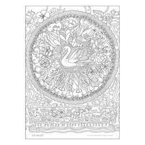 Swan Mandala- Printable Adult & Kids Coloring Sheet. Instant PDF download.