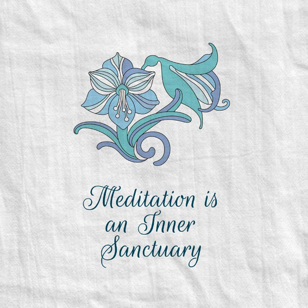 Amaryllis Tea Towel with Meditation Quote