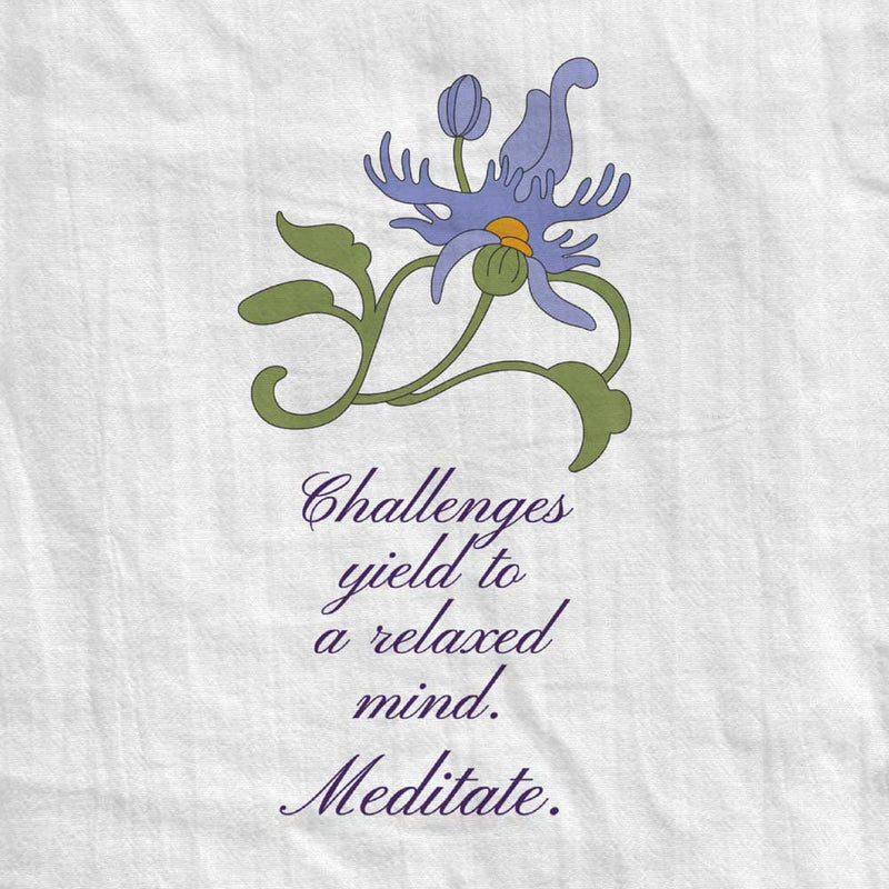 Fringed Flower Tea Towel with Meditation Quote