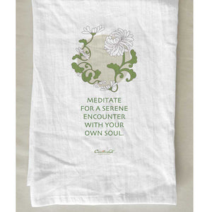 Chrysanthemum Tea Towel with Meditation Quote
