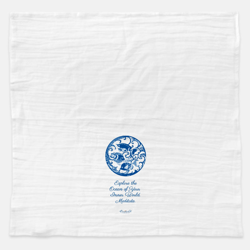 Blue  Ocean Tea Towel with Meditation Quote