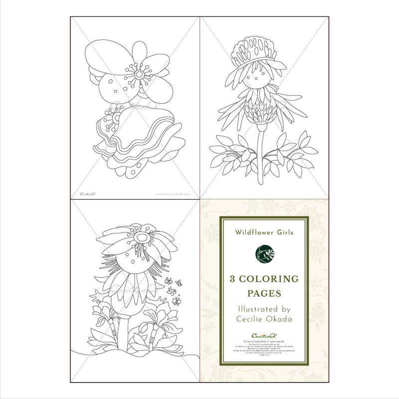 Wildflower Girls- 3 Printable Coloring Sheets for Kids. Instant PDF Download.