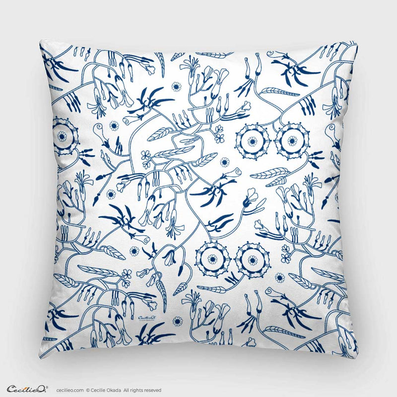 Blue Wind Flowers Pillow Case