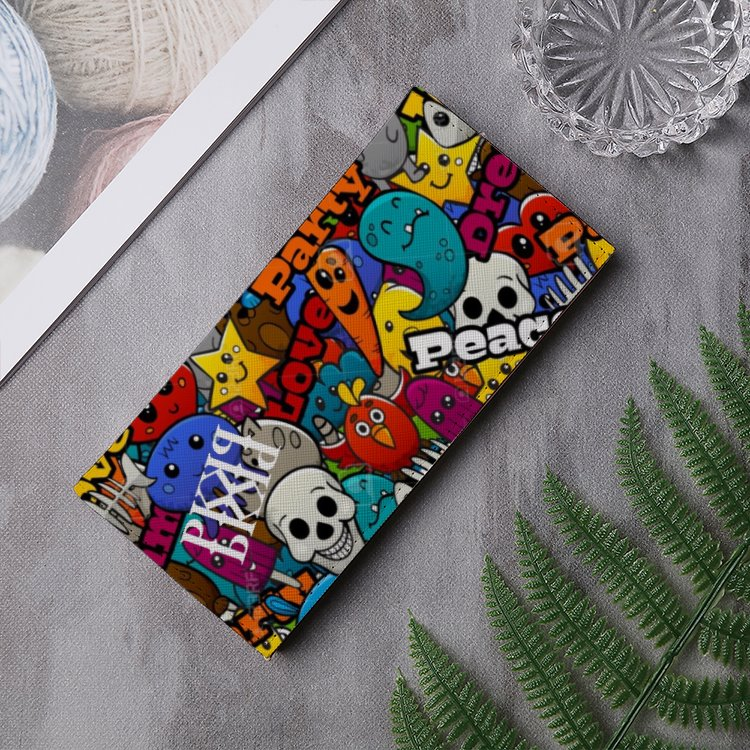 LOVE, PEACE AND PUREKHAOS Leather Multi-Card Long Bifold Wallet