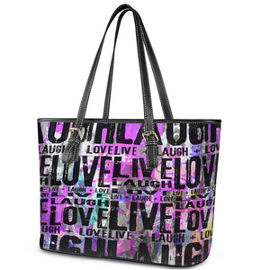 Live Laugh Love Leather Tote Bag