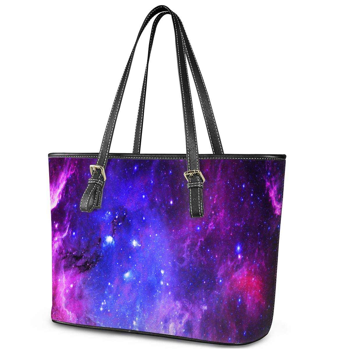 Pink Galaxy - Leather Tote Bags