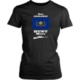 Eat Organic - Hunt More | Pennsylvania State Flag T-Shirt with Bolt Action Rifle