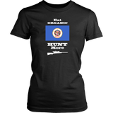 Eat Organic - Hunt More | Minnesota State Flag T-Shirt with Bolt Action Rifle
