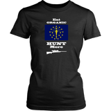 Eat Organic - Hunt More | Indiana State Flag T-Shirt with Bolt Action Rifle