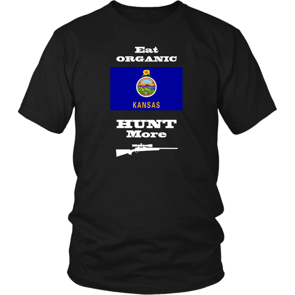 Eat Organic - Hunt More | Kansas State Flag T-Shirt with Bolt Action Rifle
