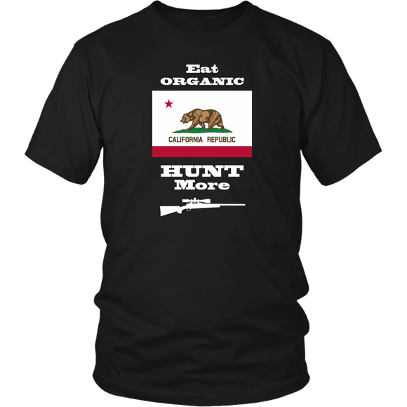 Eat Organic - Hunt More | California State Flag T-Shirt with Bolt Action Rifle