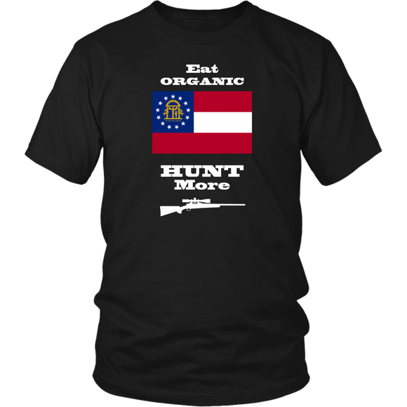 Eat Organic - Hunt More | Georgia State Flag T-Shirt with Bolt Action Rifle