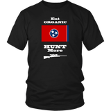 Eat Organic - Hunt More | Tennessee State Flag T-Shirt with Bolt Action Rifle