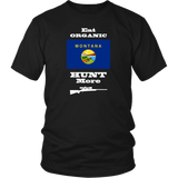 Eat Organic - Hunt More | Montana State Flag T-Shirt with Bolt Action Rifle