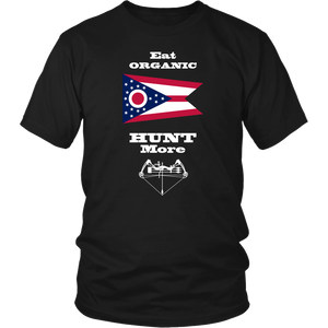 Eat Organic - Hunt More | Ohio State Flag T-Shirt with Bow