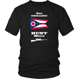 Eat Organic - Hunt More | Ohio State Flag T-Shirt with Bolt Action Rifle