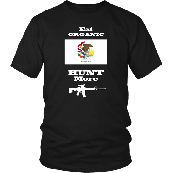 Eat Organic - Hunt More | Illinois State Flag T-Shirt with AR15