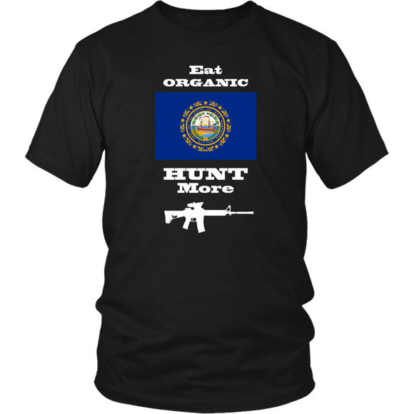 Eat Organic - Hunt More | New Hampshire State Flag T-Shirt with AR15