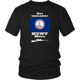 Eat Organic - Hunt More | Virginia State Flag T-Shirt with Bolt Action Rifle