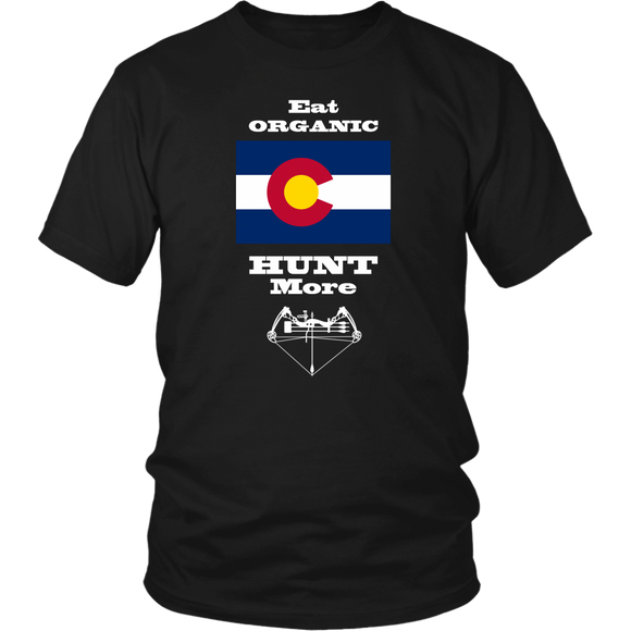 Eat Organic - Hunt More | Colorado State Flag T-Shirt with Bow