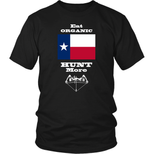 Eat Organic - Hunt More | Texas State Flag T-Shirt with Bow