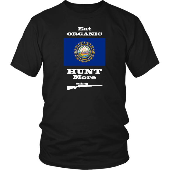 Eat Organic - Hunt More | New Hampshire State Flag T-Shirt with Bolt Action Rifle