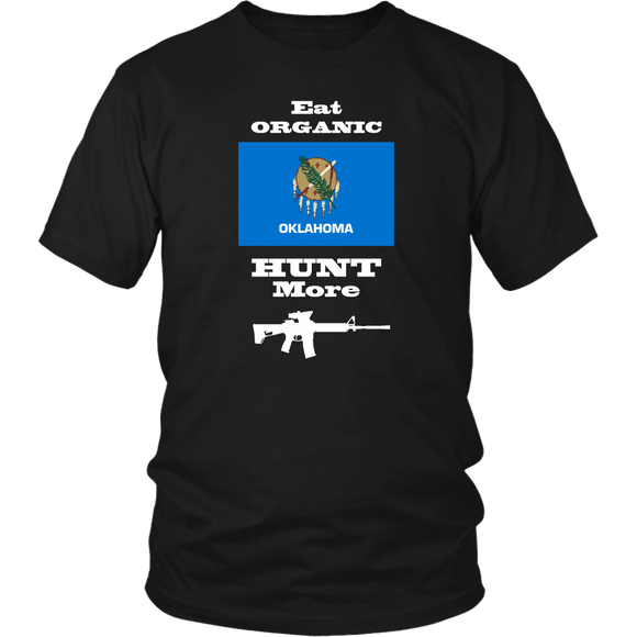 Eat Organic - Hunt More | Oklahoma State Flag T-Shirt with AR15