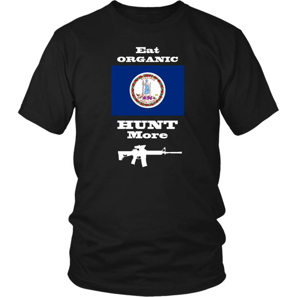 Eat Organic - Hunt More | Virginia State Flag T-Shirt with AR15