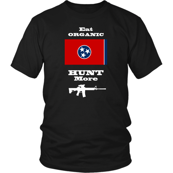 Eat Organic - Hunt More | Tennessee State Flag T-Shirt with AR15
