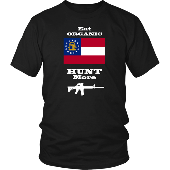 Eat Organic - Hunt More | Georgia State Flag T-Shirt with AR15