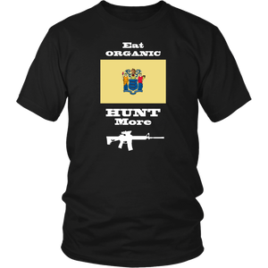Eat Organic - Hunt More | New Jersey State Flag T-Shirt with AR15