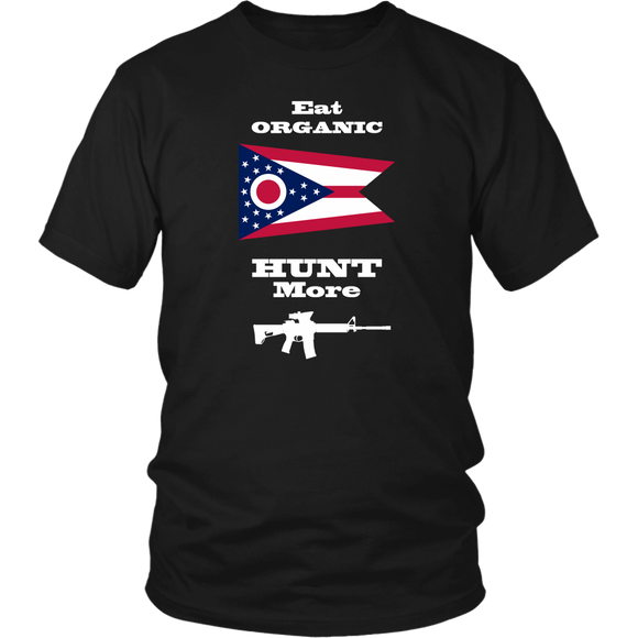 Eat Organic - Hunt More | Ohio State Flag T-Shirt with AR15